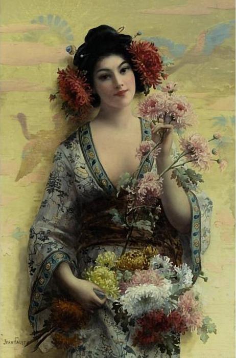 Joseph Faust (French b. 1868) - Fleurs de Japon